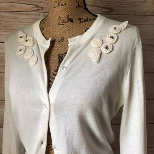 J. CREW Crystal Rosette Button Up Cardigan